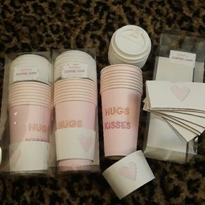 Hugs Kisses Pink Coffee Cups Paper Travel Love 24